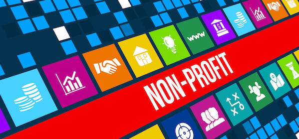 Nonprofit image with business icons and copyspace.