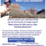 Scholarship Money Available for Outdoor/Adventure Learning!